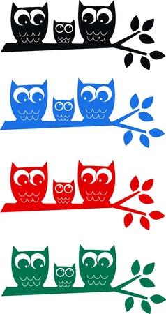 cute owl: a cute little owl family