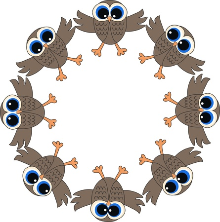 a frame of owls Stock Vector - 13578340