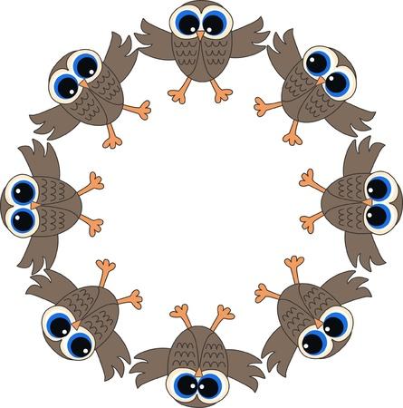 a frame of owls Stock Vector - 13578340