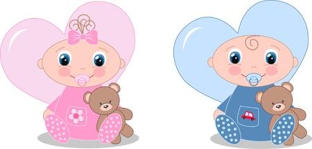 newborn baby boy and baby girl Illustration