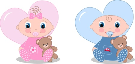 sumbol: newborn baby boy and baby girl Illustration