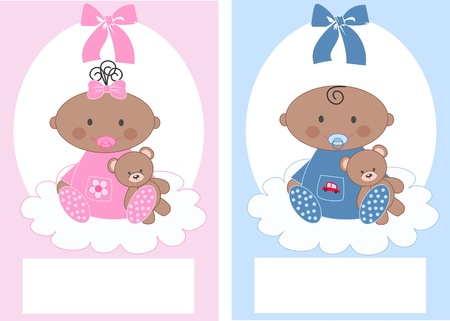 newborn baby boy and baby girl Vector