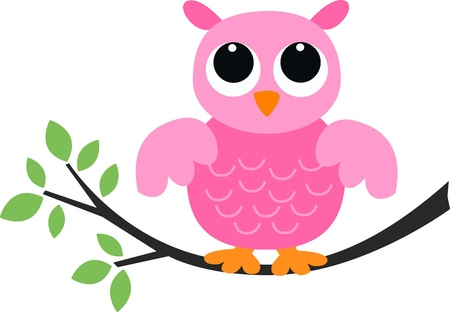 free clip art: a sweet pink owl Illustration