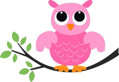 a sweet pink owl Illustration