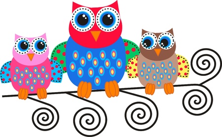 fashion drawing: colorful owls