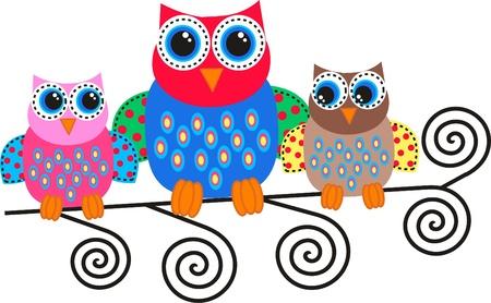 duif tekening: kleurrijke uilen