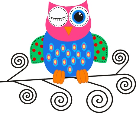 colorful owl Stock Vector - 13733871