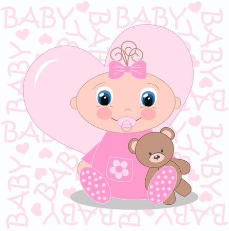 invitacion bebe: El anuncio beb� reci�n nacido Vectores