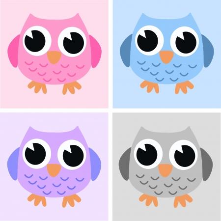 owls pink blue lilac grey