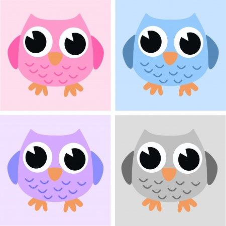 owls pink blue lilac grey Vector