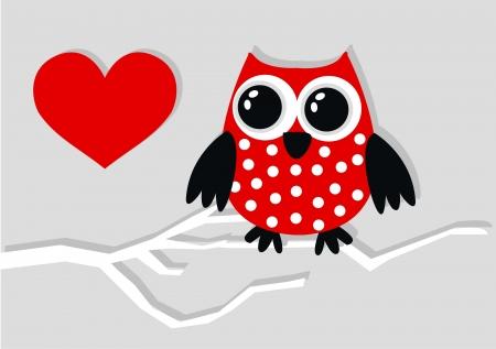 oeil dessin: amour de hibou rouge coeur