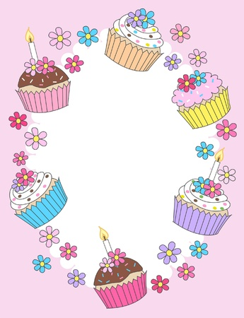 cupcake illustration: happy birthday