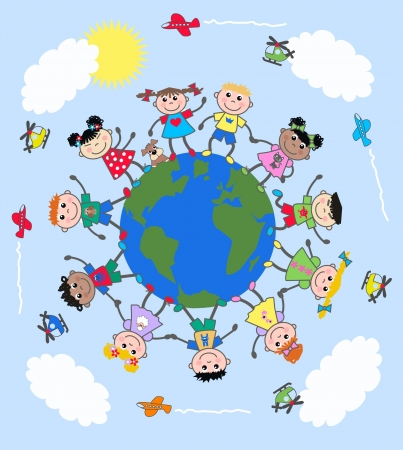 communication cartoon: mixed ethnic children