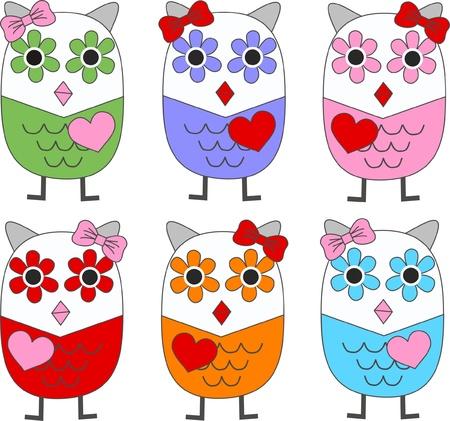 hibou: hiboux color�s Illustration