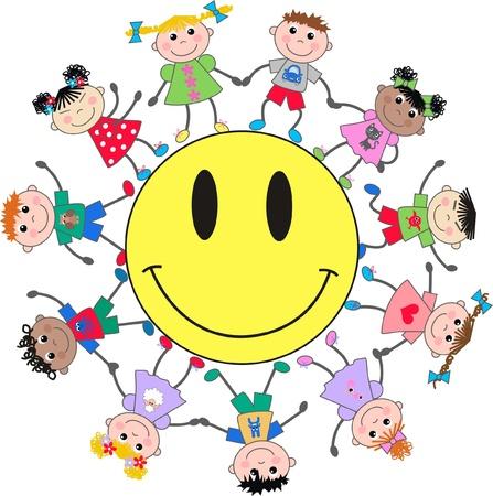 mixed ethnic children Stock Vector - 14021375