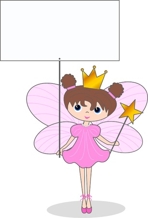 placards: a fairy with a placard Illustration