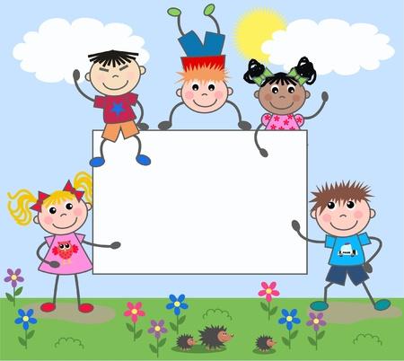 egel: gemengde etnische kinderen met daarop een bordje Stock Illustratie