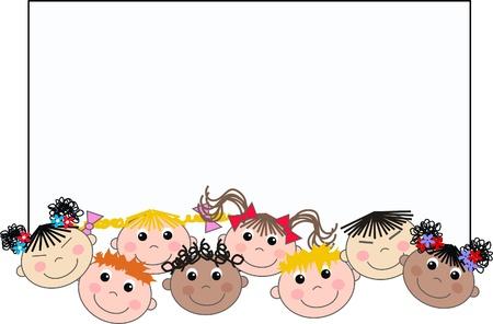 niños con pancarta: mezcla étnica niños pancarta de cabecera