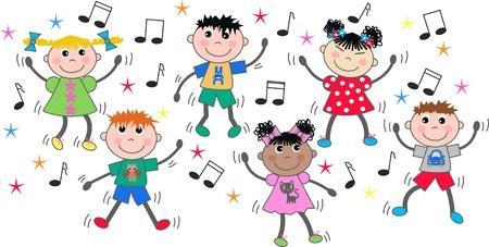 gemengde ethnci kinderen dansen disco Vector Illustratie