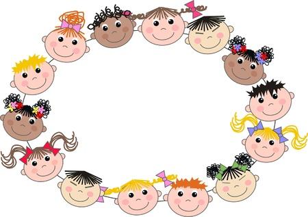 mixed ethnic children header frame Illustration