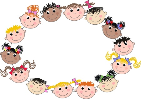 female child: mixed ethnic children header frame Illustration