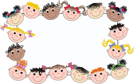 mixed ethnic children header frame Vector
