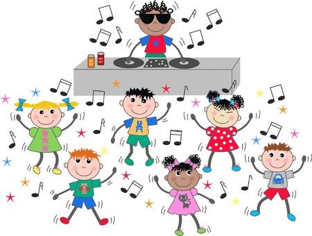 niños bailando: los niños étnicos mixtos bailando música disco dj