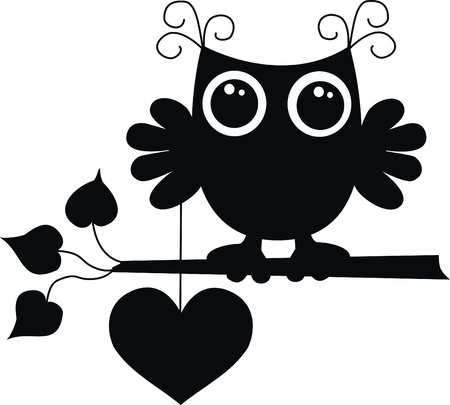 black owl love  Vector