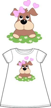 puppy love: pattern for children wear clothing Illustration