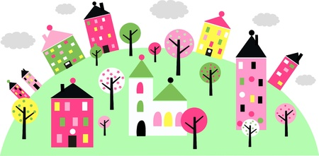 stock illustration: colorful little town on a hill