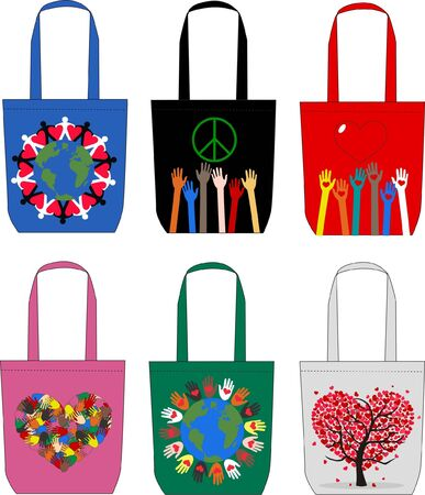 fashion bags with love peace freedom symbols Vector