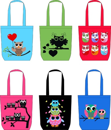 fashion bags with owls Vector