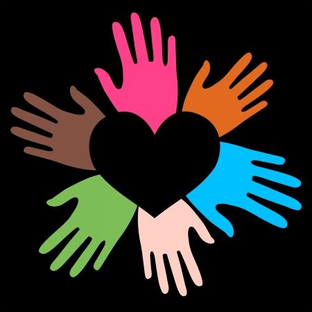 mixed ethnic hands love Stock Vector - 14574657