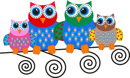 owl family: colorful owl family