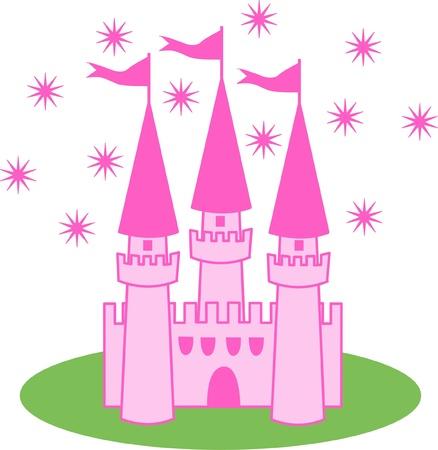 a pink castle Illustration