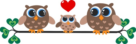 a cute little owl family Vector