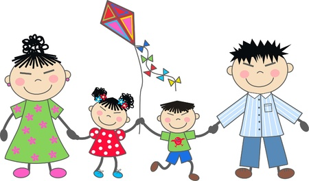 familia asiatica: una familia feliz
