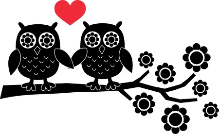 two owls in love Stock Vector - 14960089