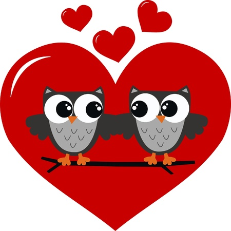 two owls in love Illustration