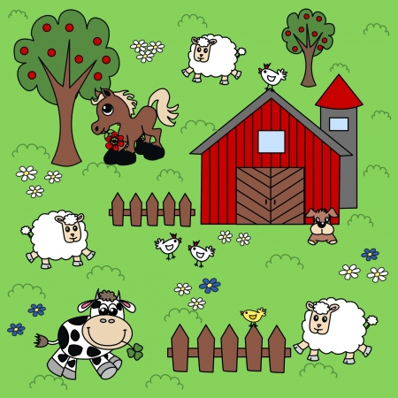 farmhouses: farm background pattern Illustration