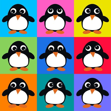 seamless penguin pattern Vector