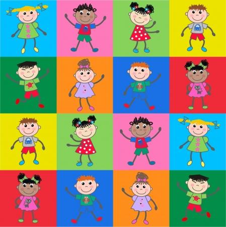 çocuklar: sorunsuz desen etnik çocuklar