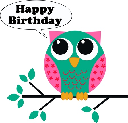 owl on branch: happy birthday