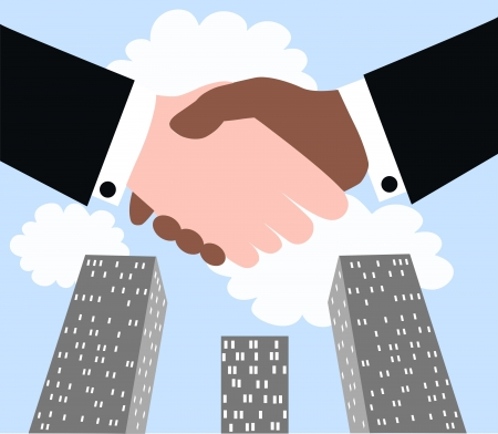 business people shaking hands: business deal agreement Illustration