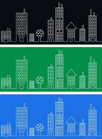 website window: city skyline header banner