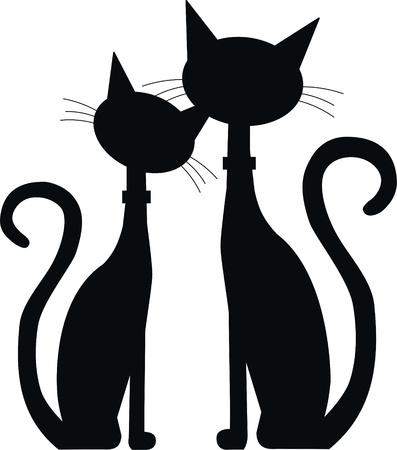 cartoon poes: silhouet van twee zwarte katten