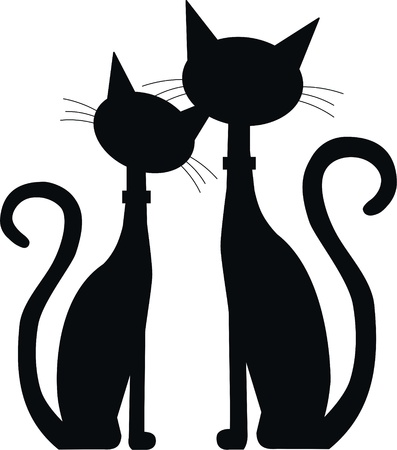 cute cat: silhouette of two black cats