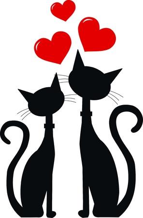 silhouette gatto: due gatti neri in amore