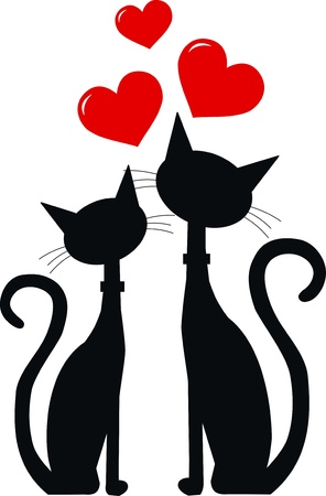 black cat silhouette: two black cats in love Illustration