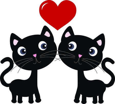 silueta de gato: dos gatos en amor